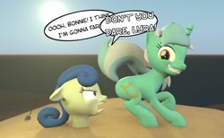 Size: 1024x629 | Tagged: safe, artist:camchao, bon bon, lyra heartstrings, sweetie drops, earth pony, pony, unicorn, 3d, beach, bon bon is not amused, buried in sand, female, implied farting, mare, raised tail, shovel, source filmmaker, tail, unamused