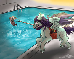 Size: 1280x1024 | Tagged: safe, artist:tory-the-fuzzball, oc, oc only, oc:trot along, opossum, pegasus, animal, bag, rescue, saddle bag, swimming pool