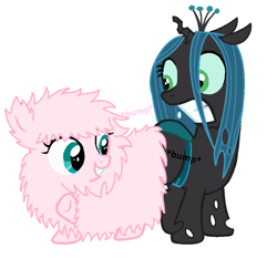Size: 908x879 | Tagged: safe, artist:jcking101, queen chrysalis, oc, oc:fluffle puff, changeling, changeling queen, nymph, pony, butt bump, butt to butt, butt touch, canon x oc, chrysipuff, cute, cutealis, female, flufflebetes, lesbian, shipping, simple background, text, white background, younger