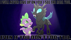 Size: 1641x927 | Tagged: safe, edit, edited screencap, editor:undeadponysoldier, screencap, spike, thorax, changeling, dragon, a changeling can change, duo, happy, holding hoof, male, song reference, the real you, three days grace