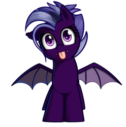 Size: 908x915 | Tagged: safe, artist:neuro, oc, oc only, oc:purity ebonshield, bat pony, pony, /mlp/, 4chan, everyday life with guardsmares, female, mare, simple background, solo, tongue out, transparent background