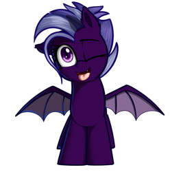 Size: 908x915 | Tagged: safe, artist:neuro, oc, oc only, oc:purity ebonshield, bat pony, pony, /mlp/, 4chan, everyday life with guardsmares, female, mare, one eye closed, simple background, solo, tongue out, transparent background, wings, wink, winking at you