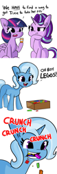 Size: 2250x6750   Tagged: safe, artist:tjpones edits, edit, starlight glimmer, trixie, twilight sparkle, alicorn, pony, unicorn, bottle, comic, crunch, cute, diatrixes, eating, female, hoof on chin, lego, mare, medicine, missing cutie mark, pica, pills, simple background, sitting, trixie's pills, twilight sparkle (alicorn), wat, white background