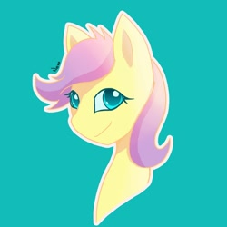 Size: 1280x1280 | Tagged: safe, artist:radioactive nero, fluttershy, pony, alternate hairstyle, alternate universe, bust, cyan background, female, simple background, smiling, solo