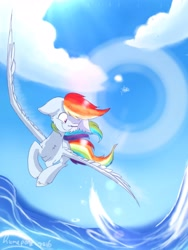Size: 2304x3072 | Tagged: safe, artist:lumepone, rainbow dash, pegasus, pony, cheek fluff, chest fluff, cloud, cute, dashabetes, ear fluff, female, floppy ears, flying, high res, lens flare, mare, ocean, one eye closed, sky, solo, spread wings, water, wings