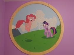 Size: 4160x3120 | Tagged: artist needed, safe, pinkie pie, twilight sparkle, earth pony, pony, unicorn, cloud, female, grass, jumping, mare, photo, sky, unicorn twilight