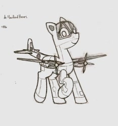 Size: 896x960 | Tagged: safe, artist:hbgxh, oc, original species, plane pony, pony, de havilland hornet, monochrome, plane, ponified, traditional art