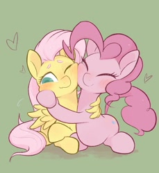 Size: 1872x2048 | Tagged: safe, artist:noupu, fluttershy, pinkie pie, earth pony, pegasus, pony, blushing, cheek squish, eyes closed, female, flutterpie, green background, heart, hug, lesbian, nuzzling, one eye closed, shipping, simple background, squishy cheeks