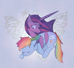 Size: 2239x2051 | Tagged: safe, artist:veranable, rainbow dash, twilight sparkle, alicorn, pegasus, pony, the last problem, cutie mark, element of loyalty, element of magic, elements of harmony, female, holding a pony, lesbian, princess twilight 2.0, shipping, sleeping, snot bubble, twidash, twilight sparkle (alicorn), wings