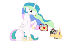Size: 3264x1836 | Tagged: safe, artist:koldkilla, princess celestia, oc, oc:bandit, changeling, changeling oc, crown, double colored changeling, jewelry, missing cutie mark, momlestia, newbie artist training grounds, paper crown, ponytail, red changeling, regalia, simple background, white background