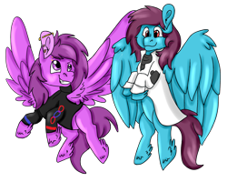 Size: 2500x2000 | Tagged: safe, artist:euspuche, oc, oc only, oc:high flyer, oc:parabellum, pegasus, pony, clothes, looking at each other, looking up, simple background, transparent background