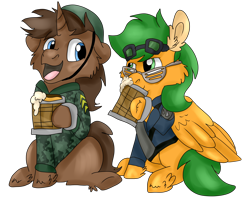 Size: 2500x2000 | Tagged: safe, artist:euspuche, oc, oc only, oc:atom smasher, pegasus, pony, unicorn, alcohol, beer, clothes, drinking, looking at each other, military, simple background, talking, transparent background