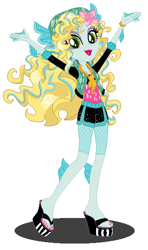 Size: 342x578 | Tagged: safe, artist:cookiechans2, artist:machakar52, equestria girls, barely eqg related, base used, clothes, compression shorts, crossover, equestria girls style, equestria girls-ified, fins, flower, flower in hair, jewelry, lagoona blue, mattel, monster high, necklace, sandals, sea monster, sexy, shoes, shorts