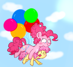 Size: 1200x1100 | Tagged: safe, artist:honneymoonmlp, li'l cheese, pinkie pie, earth pony, pony, the last problem, balloon, colt, duo, female, floating, male, mare, mother and child, mother and son, sky, smiling, then watch her balloons lift her up to the sky