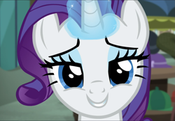 Size: 1347x939 | Tagged: safe, screencap, rarity, pony, unicorn, made in manehattan, bronybait, close-up, cropped, cute, female, glowing horn, horn, looking at you, mare, raribetes, smiling, solo