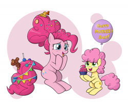 Size: 1400x1200 | Tagged: safe, artist:mew-me, li'l cheese, pinkie pie, earth pony, the last problem, balloon, colt, cute, diapinkes, female, male, mama pinkie, mare, mother and child, mother and son, mother's day, older, older pinkie pie