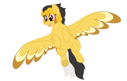 Size: 1260x800 | Tagged: safe, artist:faith-wolff, oc, oc only, oc:summer skies, pegasus, female, flying, offspring, parent:oc:rusty mcshale, parent:spitfire, parents:canon x oc, solo