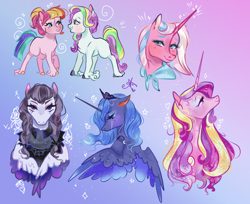 Size: 1694x1379 | Tagged: safe, artist:bunnari, clear sky, coconut cream, inky rose, princess cadance, princess luna, toola roola, alicorn, earth pony, pegasus, pony, unicorn, bust, crying, eye contact, female, filly, gradient background, heart, looking at each other, mare, portrait, smiling, unshorn fetlocks