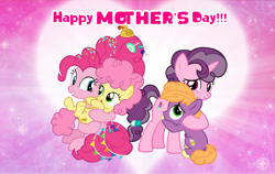 Size: 4600x2899 | Tagged: safe, artist:andoanimalia, li'l cheese, little mac, pinkie pie, sugar belle, earth pony, pony, unicorn, the last problem, female, foal, holding a pony, hug, male, mother and child, mother and daughter, mother and son, mother's day, older, older pinkie pie, older sugar belle