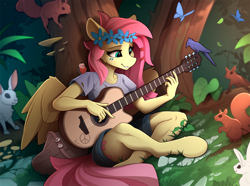 Size: 2350x1744 | Tagged: safe, artist:yakovlev-vad, fluttershy, bird, butterfly, pegasus, rabbit, squirrel, anthro, unguligrade anthro, animal, clothes, crossed legs, cute, female, flower, flower in hair, guitar, hippie, hippieshy, mare, musical instrument, playing, scenery, shirt, shorts, shyabetes, sitting, solo, t-shirt, tree
