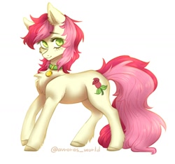 Size: 1600x1500 | Tagged: safe, artist:avroras_world, roseluck, earth pony, pony, cheek fluff, chest fluff, collar, cute, cuteluck, ear fluff, female, fluffy, leg fluff, mare, pet tag, pony pet, rosepet, simple background, solo, white background