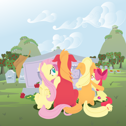 Size: 2880x2880 | Tagged: safe, anonymous artist, apple bloom, applejack, big macintosh, fluttershy, earth pony, pegasus, pony, series:fm holidays, apple, apple siblings, apple sisters, applejack's hat, brother and sister, cowboy hat, crying, facing away, female, filly, fluttermac, food, gravestone, graveyard, hat, hoof on shoulder, implied bright mac, implied pear butter, intertwined tails, lineless, male, mare, missing accessory, mother's day, no pupils, shipping, siblings, sisters, stallion, straight, sweet apple acres, tail