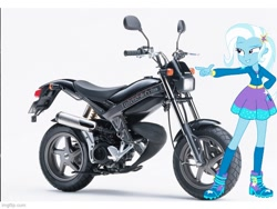 Size: 640x480 | Tagged: safe, trixie, equestria girls, street magic with trixie, imgflip, motorcycle, pun, suzuki street magic, visual pun