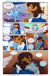 Size: 5713x8450 | Tagged: safe, artist:jeremy3, princess celestia, trixie, oc, oc:miss becky, alicorn, earth pony, pony, unicorn, comic:everfree, comic:everfree my friend, cast, comic, crying, earth pony oc, female, filly, filly trixie, school, younger