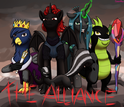 Size: 3869x3320 | Tagged: safe, artist:galacticham, queen chrysalis, oc, oc:abigail, oc:dragon lord charcoal, oc:king gilbert, oc:prince ecosis, alicorn, changeling, changeling queen, dragon, griffon, skunk, alicorn oc, alliance ecosis, animal, armor, bloodstone scepter, crown, fangs, female, glowing horn, group, horn, jewelry, looking at you, regalia, scepter, tongue out, wings