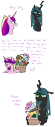 Size: 834x1910 | Tagged: safe, artist:jargon scott, princess cadance, queen chrysalis, alicorn, changeling, changeling queen, pony, comic, cute, cutealis, dialogue, female, gift basket, implied chrysarmordance, implied shining armor, implied shipping, mare, mommy chrissy, mother's day