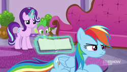 Size: 1280x720 | Tagged: safe, screencap, rainbow dash, spike, starlight glimmer, deep tissue memories, spoiler:deep tissue memories, spoiler:mlp friendship is forever, 9now, cute, dashabetes, rainbow dash is not amused, unamused