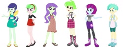 Size: 1526x609   Tagged: safe, artist:berrypunchrules, editor:thomasfan45, blueberry cake, cherry crash, mystery mint, starlight, tennis match, watermelody, human, equestria girls, alternate hairstyle, background human, boots, clothes, compilation, cute, cutie mark, cutie mark on clothes, dress, feet, female, hand on hip, headband, jewelry, legs, necklace, open-toed shoes, redesign, sandals, sexy, shirt, shoes, simple background, sneakers, socks, vest, white background