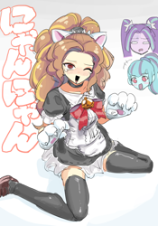 Size: 1400x2000 | Tagged: safe, artist:ceitama, adagio dazzle, aria blaze, sonata dusk, cat, equestria girls, bell, bell collar, blushing, bowtie, cat bell, cat ears, cat paws, catgirl, choker, clothes, collar, female, japanese, maid, one eye closed, paw gloves, socks, teary eyes, thigh highs, zettai ryouiki