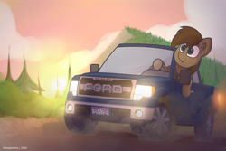 Size: 3000x2000 | Tagged: safe, artist:perezadotarts, derpibooru exclusive, oc, oc only, pony, car, driving, dust, ford, ford f-150, ford f-150 raptor, ford raptor, forest, license plate, male, pickup truck, smiling, solo, text, truck, vehicle
