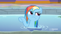 Size: 1920x1080 | Tagged: safe, screencap, rainbow dash, deep tissue memories, spoiler:deep tissue memories, spoiler:mlp friendship is forever, angry, rainbow dash is not amused, unamused, wet mane