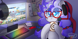 Size: 2000x1000 | Tagged: safe, artist:anxioussartist, oc, oc only, oc:cinnabyte, earth pony, pony, chair, cinnamon, cinnamon bun, food, gaming chair, gaming headset, gaming pc, headphones, headset, keyboard, nintendo switch, pc, poster, switch