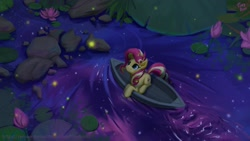 Size: 1920x1080   Tagged: safe, artist:tinybenz, sunset shimmer, firefly (insect), insect, pony, unicorn, boat, cute, female, flower, lilypad, mare, night, prone, shimmerbetes, sitting, solo, water