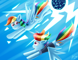 Size: 1773x1378 | Tagged: safe, artist:jphyperx, rainbow dash, pegasus, pony, season 9, the last problem, spoiler:s09, double rainbow, lightning, older, older rainbow dash, self paradox, time paradox, time travel