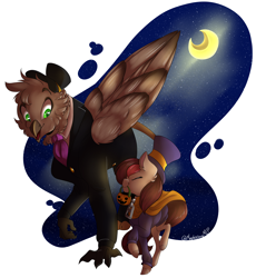 Size: 5368x5840 | Tagged: safe, artist:mapleicious, artist:mapleiciousmlp, oc, oc only, oc:appleale, oc:steelwinghollowtooth, earth pony, griffon, a hat in time, clothes, conductor, costume, female, halloween, halloween costume, hat girl, holiday, male, mare, moon, night, nightmare night, nightmare night costume, pumpkin, pumpkin bucket, simple background, transparent background, unshorn fetlocks