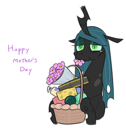 Size: 722x733 | Tagged: safe, artist:jargon scott, edit, editor:dsp2003, queen chrysalis, changeling, changeling queen, comic, crying, cute, cutealis, female, floppy ears, gift basket, mare, mommy chrissy, mother's day, single panel, solo, teary eyes