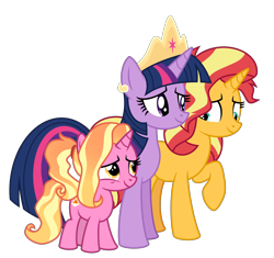 Size: 6400x6018   Tagged: safe, artist:emeraldblast63, luster dawn, sunset shimmer, twilight sparkle, alicorn, pony, unicorn, the last problem, female, filly, filly luster dawn, implied lesbian, implied magical lesbian spawn, implied shipping, implied sunsetsparkle, mare, simple background, transparent background, twilight sparkle (alicorn), younger
