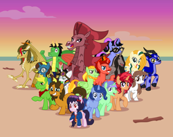 Size: 2753x2179 | Tagged: safe, artist:emeraldblast63, oc, oc only, oc:alex the chubby pony, oc:brass polish, oc:bright idea, oc:cassey, oc:cloudy glow, oc:emerald blast, oc:evenstar gleam, oc:janey, oc:jasper pie, oc:lightning bliss, oc:mezma, oc:namygaga, oc:pixelkitties, oc:space shift, oc:trail grazer, oc:vector, oc:wee pony, alicorn, cat, cat pony, dracony, dragon, earth pony, gazelle, hybrid, original species, pegasus, pony, siren, unicorn, alicorn oc, artists, beach, horn, wings
