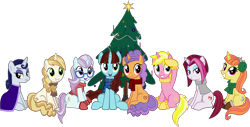 Size: 4622x2342 | Tagged: safe, artist:ironm17, cayenne, citrus blush, moonlight raven, north point, pretzel twist, say cheese, sunshine smiles, sweet biscuit, pony, christmas, christmas tree, clothes, earmuffs, high res, holiday, scarf, simple background, transparent background, tree, vector