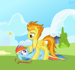 Size: 3950x3700 | Tagged: safe, artist:eclipsaaa, rainbow dash, spitfire, pegasus, pony, wonderbolts academy, female, lesbian, mare, on back, pinned, shipping, spitdash, wonderbolts