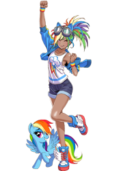 Size: 530x750 | Tagged: artist needed, safe, kotobukiya, rainbow dash, human, pegasus, pony, armpits, clothes, delicious flat chest, human ponidox, humanized, jacket, kotobukiya rainbow dash, rainbow flat, self ponidox, simple background, transparent background, winking at you