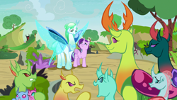 Size: 1280x720 | Tagged: safe, artist:thurder2020, cozy glow, lord tirek, ocellus, pharynx, queen chrysalis, starlight glimmer, thorax, changedling, changeling, pony, unicorn, a better ending for chrysalis, group, king thorax, prince pharynx, purified chrysalis