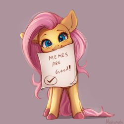 Size: 4000x4000   Tagged: safe, artist:miokomata, fluttershy, pegasus, pony, blushing, colored hooves, fangs, female, freckles, freckleshy, looking at you, mare, meme, meta, mouth hold, signature, simple background
