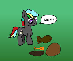 Size: 1600x1352 | Tagged: safe, artist:platinumdrop, oc, oc only, oc:grey disc, earth pony, bomb, colt, gradient background, male, simple background, solo, speech bubble, weapon