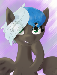 Size: 2468x3239 | Tagged: safe, artist:mitchthemage, artist:mitchthemagician, oc, oc only, oc:midnight note, pegasus, pony, blue hair, eye clipping through hair, green eyes, solo, white hair