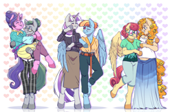 Size: 4000x2601 | Tagged: safe, artist:djkaskan, cloudy quartz, cookie crumbles, pear butter, posey shy, twilight velvet, windy whistles, anthro, earth pony, pegasus, unguligrade anthro, unicorn, arm hooves, carrying, clothes, female, glasses, hug, mare, mom six, pants, pregnant, skirt, winghug